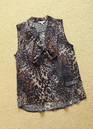 Блуза блузка на пуговицах принт легкая свободного кроя без рукава летняя прямая new look