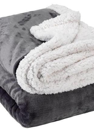 Теплый и уютный плед под овчинку 140 * 200 серый