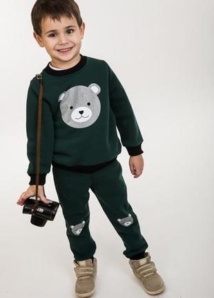 Детский трикотажный костюм с мишкой утепленный