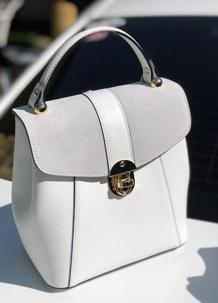 Белый кожаный рюкзак сумка италия трансформер шкіряна сумка рюкзак