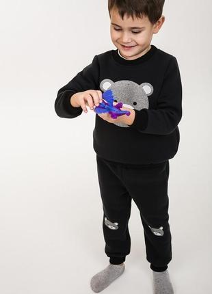 Детский костюм трикотажный утепленный с мишкой