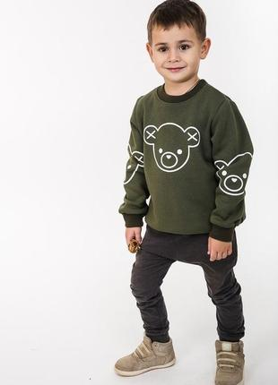 Детский свитшот с начесом с принтом мишка