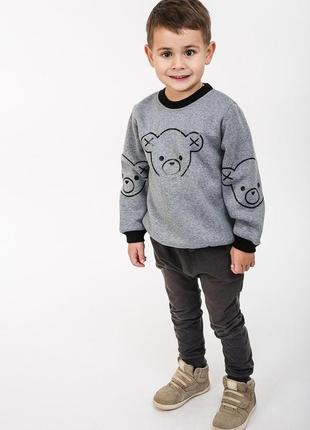 Детский свитшот с начесом с принтом миша