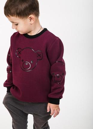 Детский свитшот на флисе с принтом миша