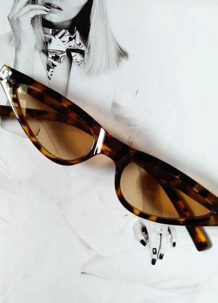 Стильные очки солнцезащитные  маленький треугольник леопард