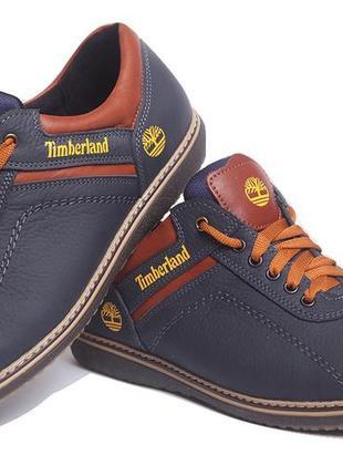 Мужские спортивные кожаные туфли timberland sheriff deep blue