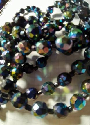 Ожерелье из граненых бусин бензиновое покрытие чехия винтаж