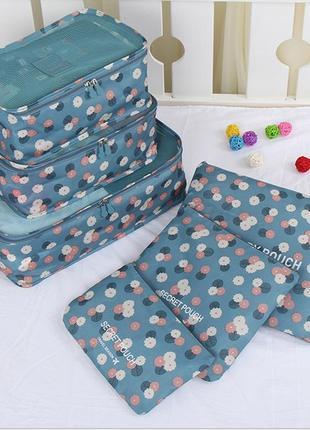 Набор дорожных сумок для чемодана из 6 штук голубой в цветы