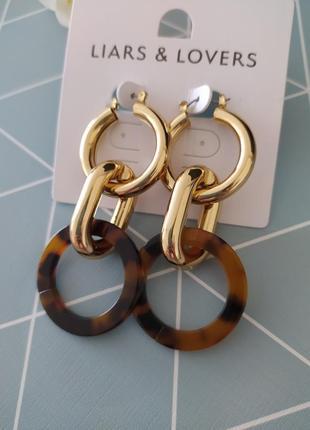 Сережки підвіски, сережки кільця, серьги подвески, серьги кольца liars lovers от asos