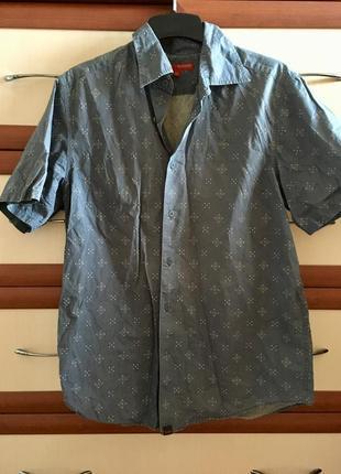 🏋🏻летняя рубашка мужская с коротким рукавом 💯 % хлопок