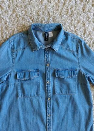 Джинсовая тонкая рубашка удлиненная прямого кроя s-m