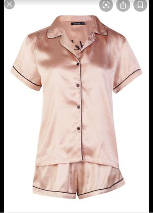 Wow цена ! шелковая пижама с шортами gold rose boohoo