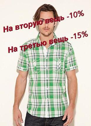 🤸♀️хлопковая рубашка с коротким рукавом шведка мужская в клетку