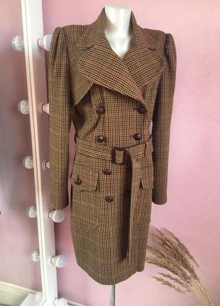 Пальто в винтажную коричневую клетку next в составе с шерстью