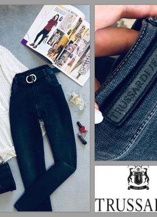 Качественные джинсы мом высокая посадка trussardi