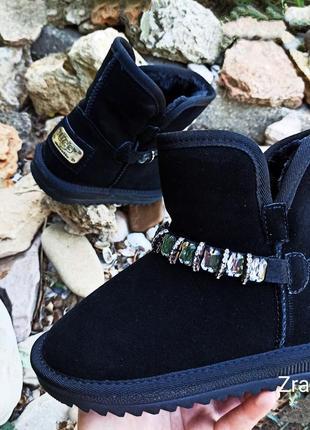 Черные замшевы натуральные угги ботинки сапоги подарок ребенку