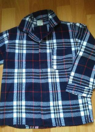 Теплая,фланелевая рубашка на 4-5 лет