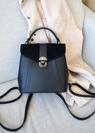 Стильный итальянский черный кожаный трансформер рюкзак-сумка, borse in pelle (италия)