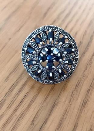 Винтажное кольцо с сапфирами серебро 925 пробы