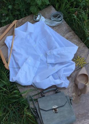 Актуальная базовая женская біла сорочка рубашка оверсайз, блузка голуба