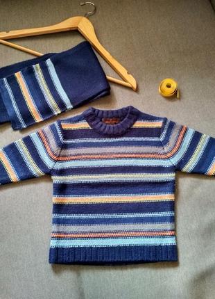 Новый вязаный свитер с шарфом reputation, сша, мальчику на 2 3 4 года