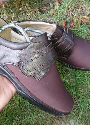 Туфли на широкую высокий подъем 39 р кожа текстиль