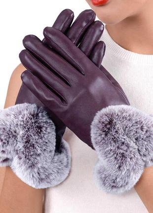 Зимние женские перчатки с натуральным мехом