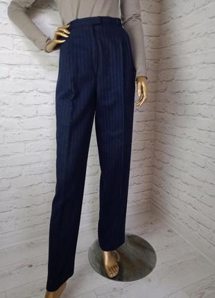Крутые шерстяные брюки с защипами в полоску р.8 (с)