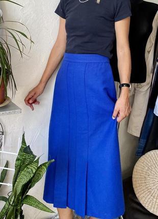 Шерстяная юбка королевского синего цвета  marks & spencer винтажная st. michael спідниця
