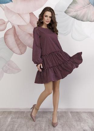 Бордовое платье-трапеция в горошек