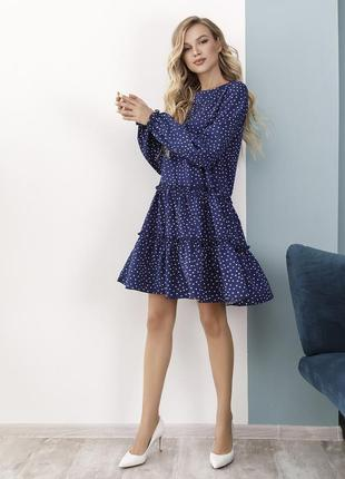 Синее платье-трапеция в горошек