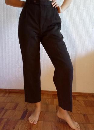 Yves saint laurent брюки с высокой талией, хлопок 100%