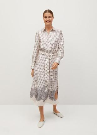 Принтованное платье-рубашка mango