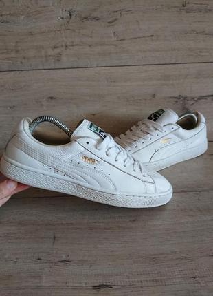 Кеды белые кроссовки пума puma basket classic 40,5р 26 см кожа