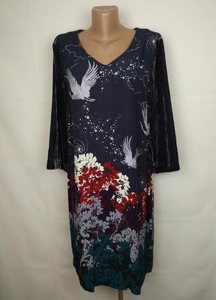 Платье шикарное велюровое в принт оригинал white stuff uk 12/40/m