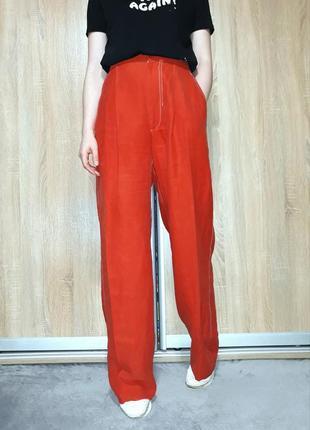 Терракотовые широкие брюки палаццо на очень высокой посадке с необработанным краем