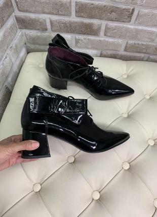 Ботинки кожаные лак осенние демисезон кожані