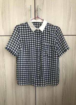 Шифоновая блуза рубашка в клетку