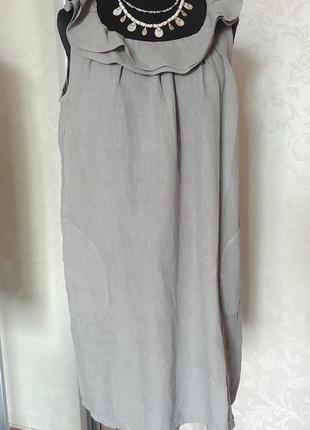 Италия платье льняное с воланом