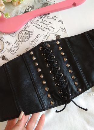 Широкий пояс на шнуровке / черный пояс резинка на кнопках