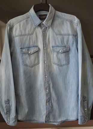 Мужская джинсовая рубашка модель must have в стиле винтаж jack& jones