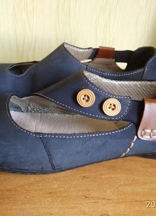Туфли балетки riker кожа нубук ортопед германия для проблемных ног.