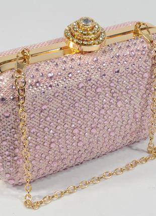 469cb4622226 Вечерний мини-клатч в камнях, сумочка на цепочке rose heart 0951 розовая  пудра1 фото ...