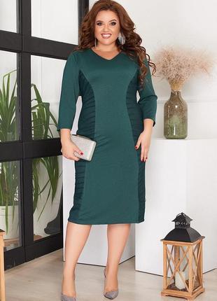 Зеленое платье миди батал турция 50,52,54,56