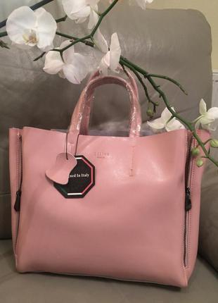 Розовая пудра сумочка селин, кожанная сумка, сумочка celine из натуральной кожи