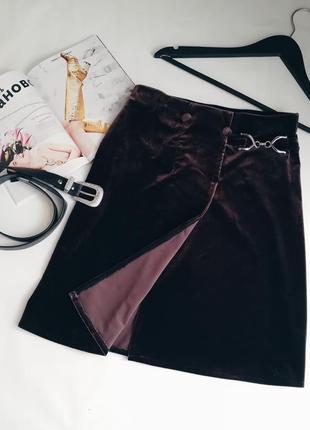 Бархатная коричневая юбка на запах