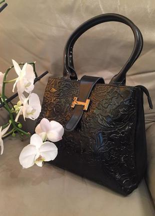 Чёрная кожаная сумочка hermes с тиснением, сумка из натуральной кожи, хит 2017