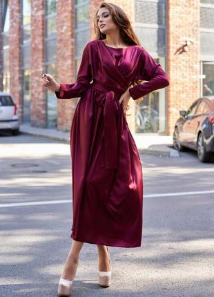 Платье миди  шелк атлас винное