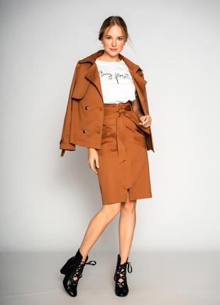 Женская коттоновая юбка прямого силуэта