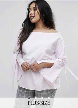 Хлопковая блуза рубашка в  полоску с вырезом лодочка plus size unique 21